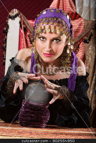 Gorgeous Fortune Teller stock photo, Gorgeous European female soothsayer with crystal ball by Scott Griessel