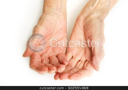 Old Lady's hands open stock photo, My mother at 90 years old with arthritic hands by Fenton