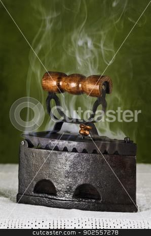 Hot Retro Iron  stock photo, Hot Retro Iron On The Canvas by Sergej Razvodovskij