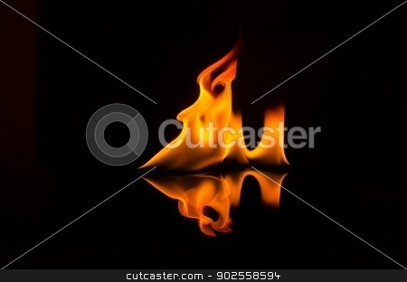 Flame stock photo, Flame isolated over black background by aoo3771