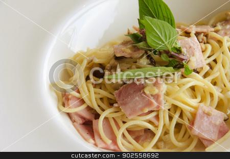 spaghetti. stock photo, A spaghetti, ham and cheese in a white dish. by aoo3771