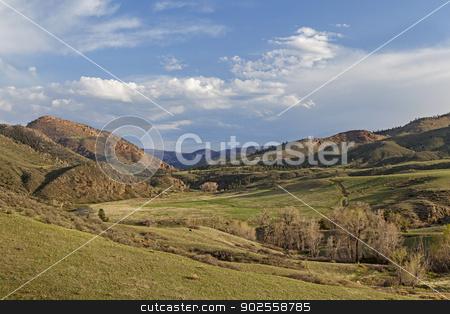 springtime in mountain valley stock photo, springtime in a mountain valley - Eagle Nest Rock Open Space near Livermore, Colorado by Marek Uliasz