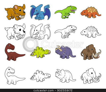 Cartoon Dinosaur Illustrations stock vector clipart, A set of cartoon prehistoric animal and dinosaur illustrations. Color and black an white outline versions. by Christos Georghiou