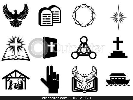 Christian religious icons stock vector clipart, Set of Christian religious icons, signs and symbols by Christos Georghiou