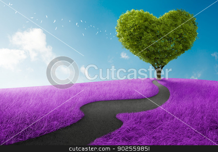 Heart tree stock photo, Heart shape tree in lavender meadow for love symbol by Giordano Aita