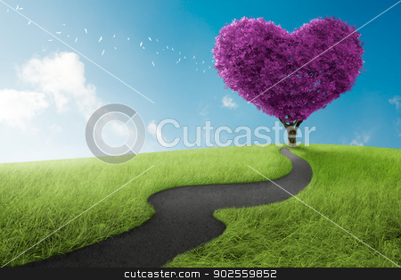 Heart tree stock photo, Heart shape tree in lavender meadow for love symbol by Giordano Aita