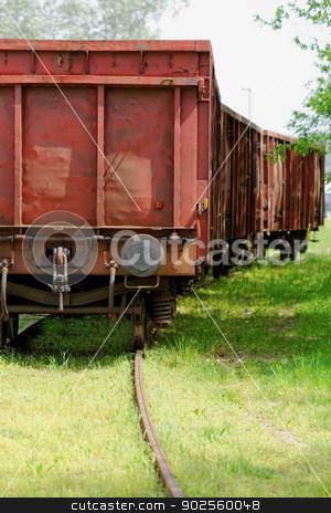 Old wagon, in an unused railway track stock photo, Old wagon, in an unused grassy railway track by Jozsef Demeter