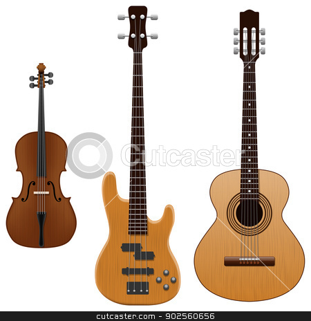 String Instruments  stock vector clipart, Layered vector illustration of collected String Instruments. by Liu Yin