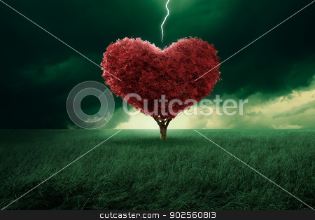 Love at first sight stock photo, Tree in the shape of heart hit from a lightning by Giordano Aita