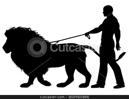 Lion walker stock vector clipart, Editable vector silhouette of a man walking a lion on a leash by Robert Adrian Hillman