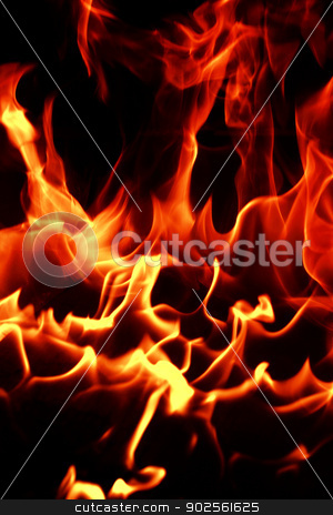 Fire flames stock photo, Fire flames with reflection on black background by Nneirda