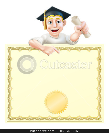 Graduate and diploma stock vector clipart, Cartoon man in graduate cap holding a scroll certificate, diploma or other qualification, peeping over a certificate and pointing  by Christos Georghiou