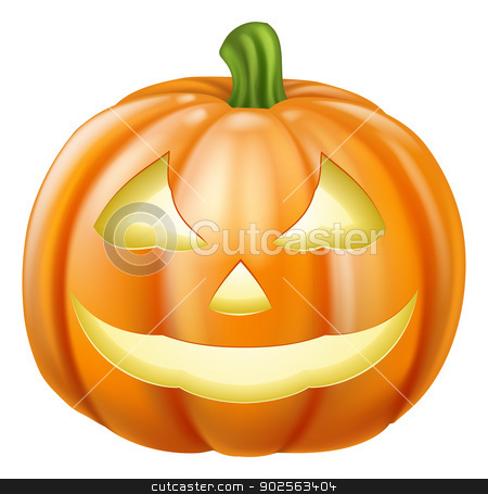 Halloween Pumpkin stock vector clipart, A drawing of an orange carved Halloween pumpkin lantern by Christos Georghiou