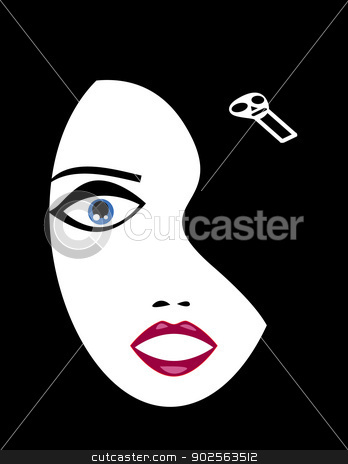 Goth Girl Face stock vector clipart, Vector illustration of a pale goth girl face emerging from black background wearing skull hairpin. No gradients used. by anita