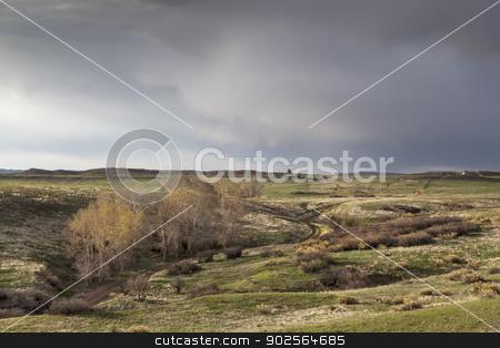 spring storm over Colorado ranch stock photo, spring storm coming over Colorado ranch - Eagle Nest Rock Open Space near Livermore by Marek Uliasz
