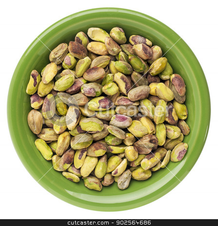 bowl of pistachio nuts stock photo, a small bowl of raw shelled pistachio nuts isolated on white, by Marek Uliasz