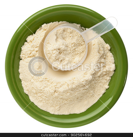 whey protein powder  stock photo, whey protein powder in a small ceramic bowl with a plastic scoop by Marek Uliasz
