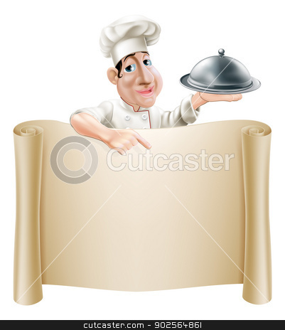 Cartoon Chef Pointing at Menu stock vector clipart, A happy cartoon cook holding a silver platter or cloche pointing at a banner or menu by Christos Georghiou