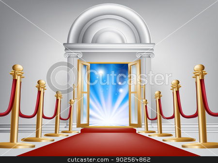 Red carpet entrance stock vector clipart, A red carpet entrance with velvet rope and imposing marble doorway leading into an exciting venue by Christos Georghiou