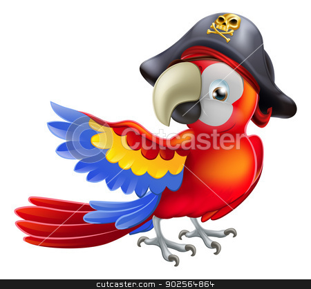 Pirate Parrot stock vector clipart, A red parrot cartoon wearing a pirates hat and eye patch and pointing with his or her wing by Christos Georghiou