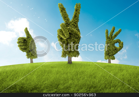Positive tree stock photo, Trees in the shape of hand that ago a positive gesture by Giordano Aita