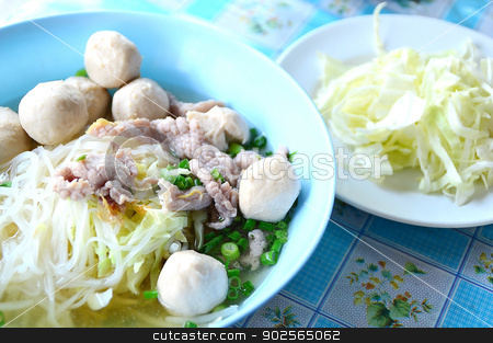 noodle soup with meat ball and fresh vegetable stock photo, noodle soup with meat ball and fresh vegetable on colorful table by Lekchangply