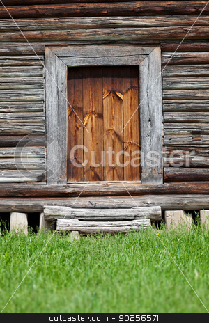 Old wooden barn entrance stock photo, Entrance to the old wooden barn. Ukraine by Alexey Romanov