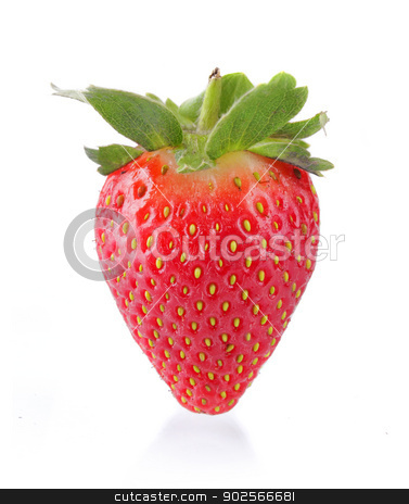 strawberry stock photo, standing strawberry isolated on white by odua images