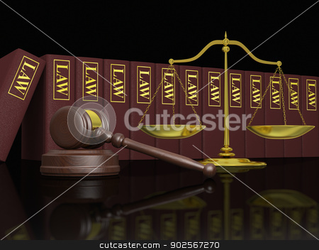 Legal education stock photo, Gavel, scale and law books, symbols of law and legal education by Harvepino