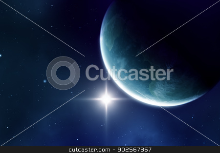 blue planet stock photo, An image of a blue planet in space by Markus Gann