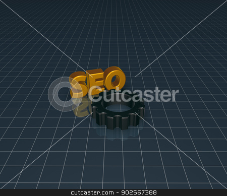 seo tag stock photo, seo tag with gear wheel - 3d illustration by J?