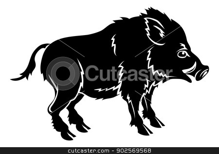 Stylised boar illustration stock vector clipart, An illustration of a stylised boar perhaps a boar tattoo by Christos Georghiou
