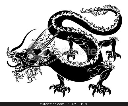 Stylised dragon illustration stock vector clipart, An illustration of a stylised Chinese oriental dragon perhaps a dragon tattoo by Christos Georghiou