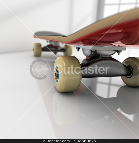 Skateboard on room stock photo, Skateboard on white room with glossy floor by Pedro Campos