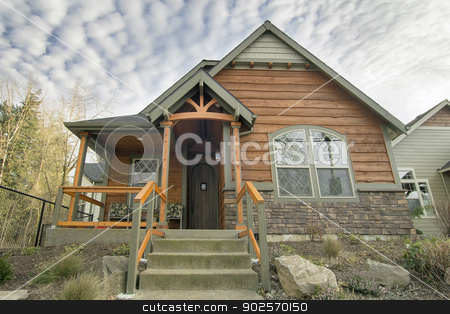 Bungalow House with Front Covered Porch stock photo, Bungalow House with Front Covered Porch Stair Steps and Landscaping by Jit Lim