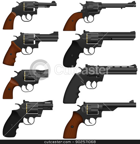 Revolver stock photo, Layered vector illustration of collected Revolver. by Liu Yin
