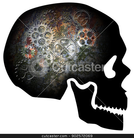 Skull with Rusty Gears Illustration stock photo, Skull Silhouette with Rusty Gears Texture Isolated on White Background Illustration by Jit Lim