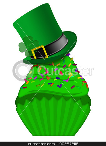 St Patricks Day Cupcake with Colorful Sprinkles stock photo, St Patricks Day Cupcake with Colorful Chocolate Chip Sprinkles and Leprechaun Hat Isolated on White Background by Jit Lim