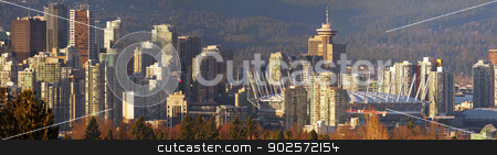Sunset on Vancouver BC City Skyline stock photo, Vancouver BC Canada City Skyline and Landscape Sunset Panorama by Jit Lim