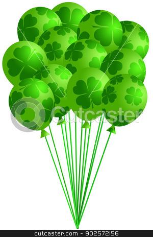 Bunch of Irish Green Balloons with Shamrocks stock photo, St Patricks Day Bunch of Irish Green Balloons with Shamrocks Four Leaf Clover Illustration by Jit Lim