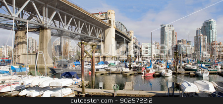 Marina Under the Burrard Bridge in Vancouver BC stock photo, Marina Under the Burrad Bridge in Granville Island in Vancouver BC Canada by Jit Lim