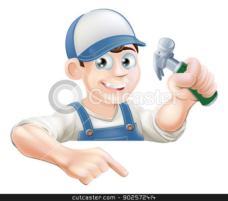 Construction guy pointing at banner stock vector clipart, A cartoon carpenter or construction guy with a hammer peeking over a sign or banner and pointing at it by Christos Georghiou