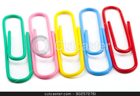 Paper Clips stock photo, Paper Clips over a white background. by Chris Dorney