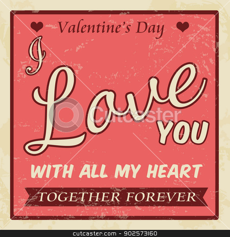Valentine's Day vintage poster stock vector clipart, Valentine's Day vintage grunge poster, vector illustration by radubalint