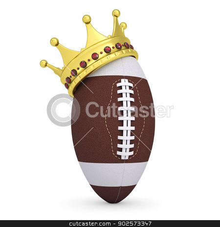 Crown on the ball for American football stock photo, Crown on the ball for American football. Isolated render on a white background by cherezoff