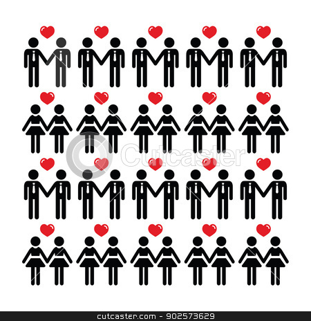 Gay lesbian couple icons vector card stock vector clipart, GBLT community - couples with the same sex, equal rights concept by Agnieszka Murphy