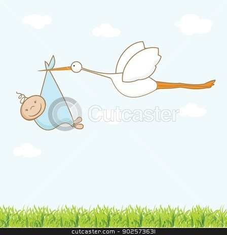 Baby arrival card with stork that brings a cute boy stock photo, Baby arrival card with stork that brings a cute boy by Maria Cherevan