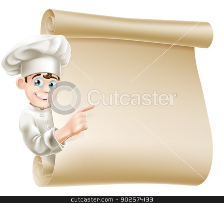 Cartoon chef and menu stock vector clipart, Illustration of a happy chef character pointing at a scroll maybe with a menu on it by Christos Georghiou