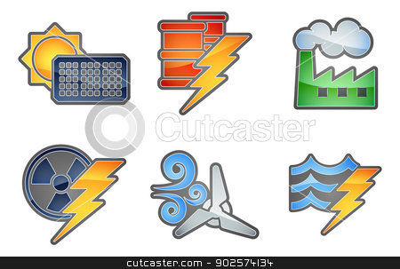 Power and Energy Icon Set stock vector clipart, A set of color icons with relating to power and energy generation. Solar, fossil fuel, nuclear, wind, hydro or water and oil by Christos Georghiou