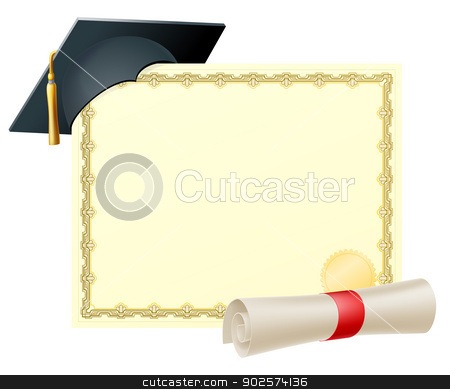 Graduate certificate background stock vector clipart, Certificate with copy-space and scroll diploma and mortar board graduation cap by Christos Georghiou